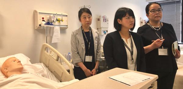 Japanese nursing students at disaster training