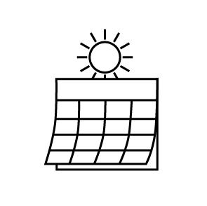 Summer sun on calendar