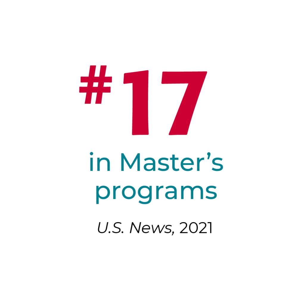 #17 in Master's Programs - US News 2021