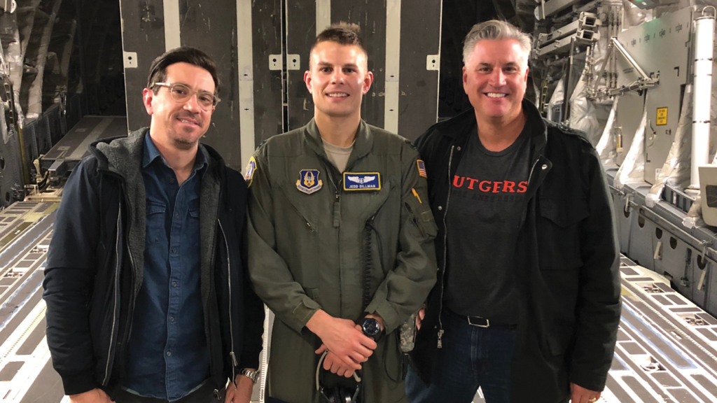 Jedd Dillman (center) arranged for nurse anesthesia classmates and professors Michael McLaughlin and Thomas Pallaria to fly on a C-17 Globemaster III with the 732 Airlift Squadron and witness the 514th Aeromedical Evacuation Squadron in action.