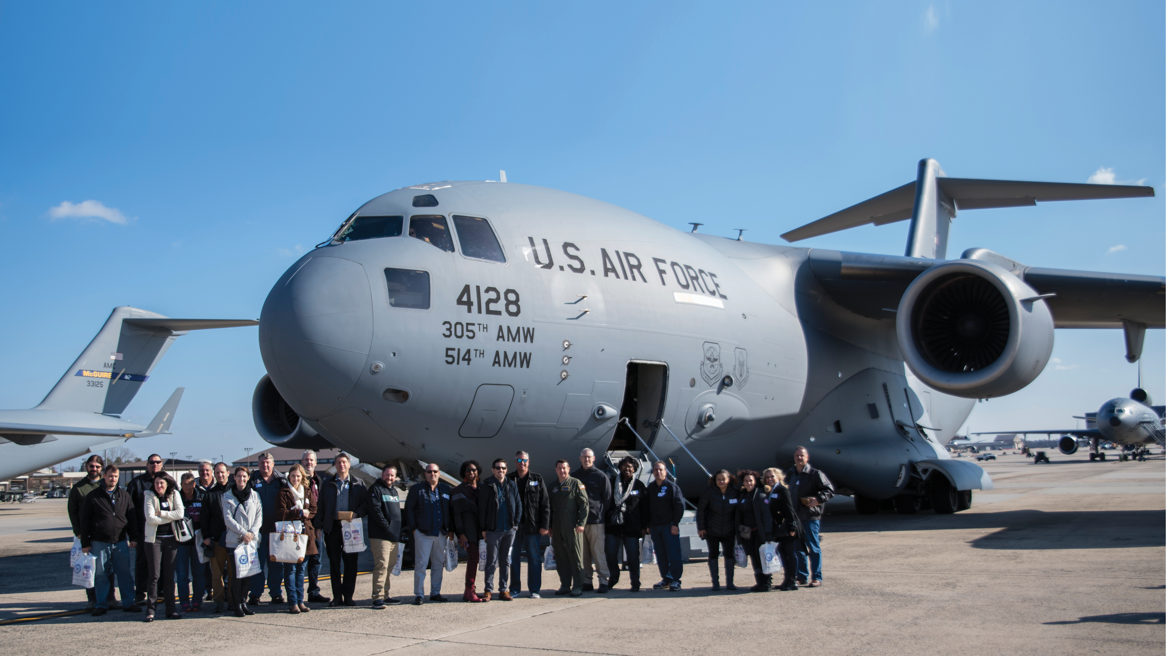 Group photo of anesthesia students and professors with Jedd Dillman and U.S. Air Force
