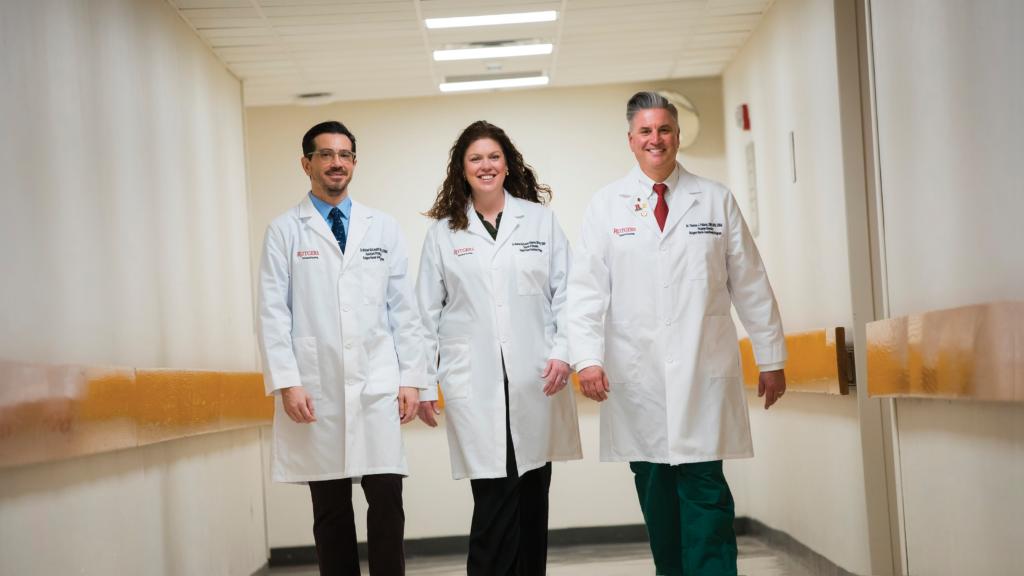 Nurse anesthesia program faculty administrators Michael McLaughlin, assistant program director; Maureen Anderson, simulation director; and Thomas Pallaria, program director.
