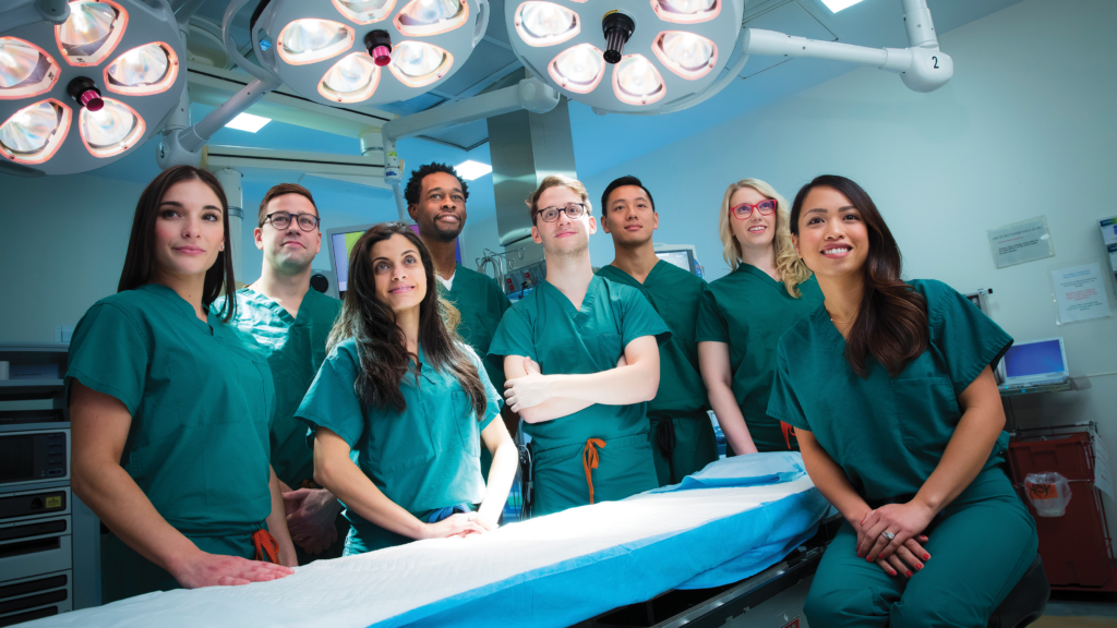 Nurse anesthesia students Alexa Aitkens, Chase Parrish, Ayah Abdallah, Stephen Landell, John Tomasello ('20), Allen Chu, Sonja Schwartzbach, and Bernadette Antunes.