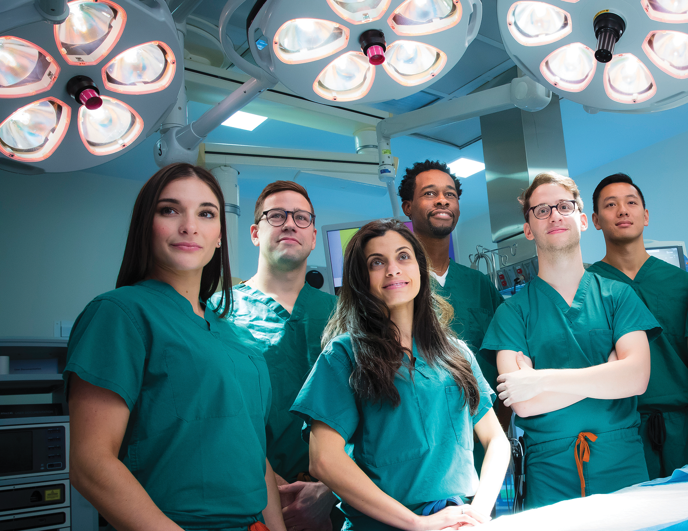 Anesthesia students Alexa Aitkens, Chase Parrish, Ayah Abdallah, Stephen Landell, John Tomasello ('20), Allen Chu, Sonja Schwartzbach, and Bernadette Antunes.