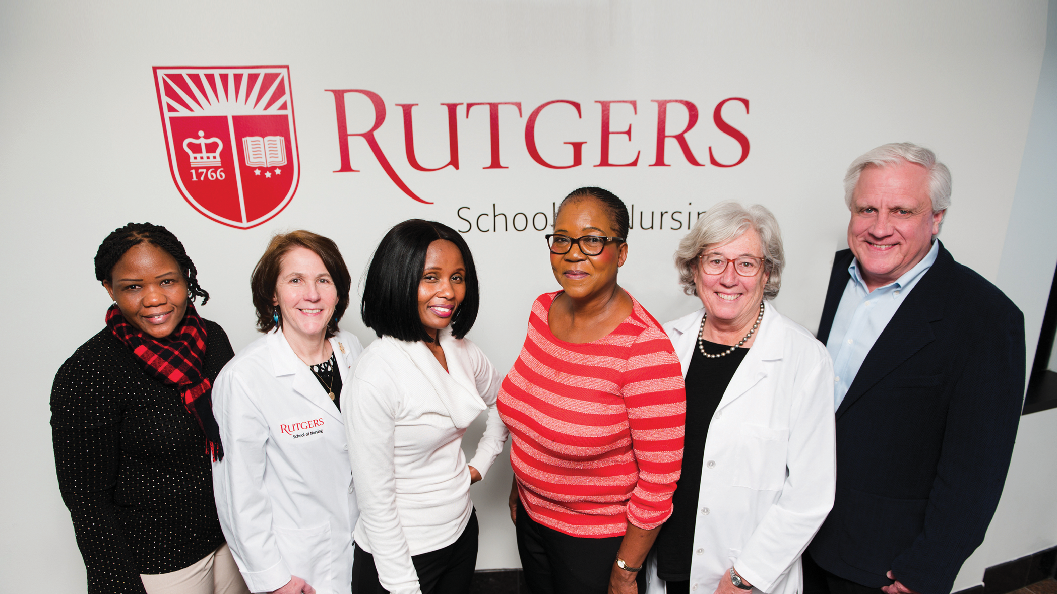 At Rutgers School of Nursing are Goitseone Maifale-Mburu, a principal registered nurse from Gaborone; Debora Tracey, assistant professor and director, Center for Clinical Learning; Joyce Vuyiswa Khutjwe and Mosidi Tseleng Mokotedi, lecturers at University of Botswana; and Suzanne Willard, clinical professor and associate dean for global health.