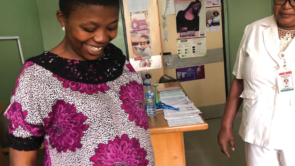 A mother-to-be during a prenatal visit in Nigeria.