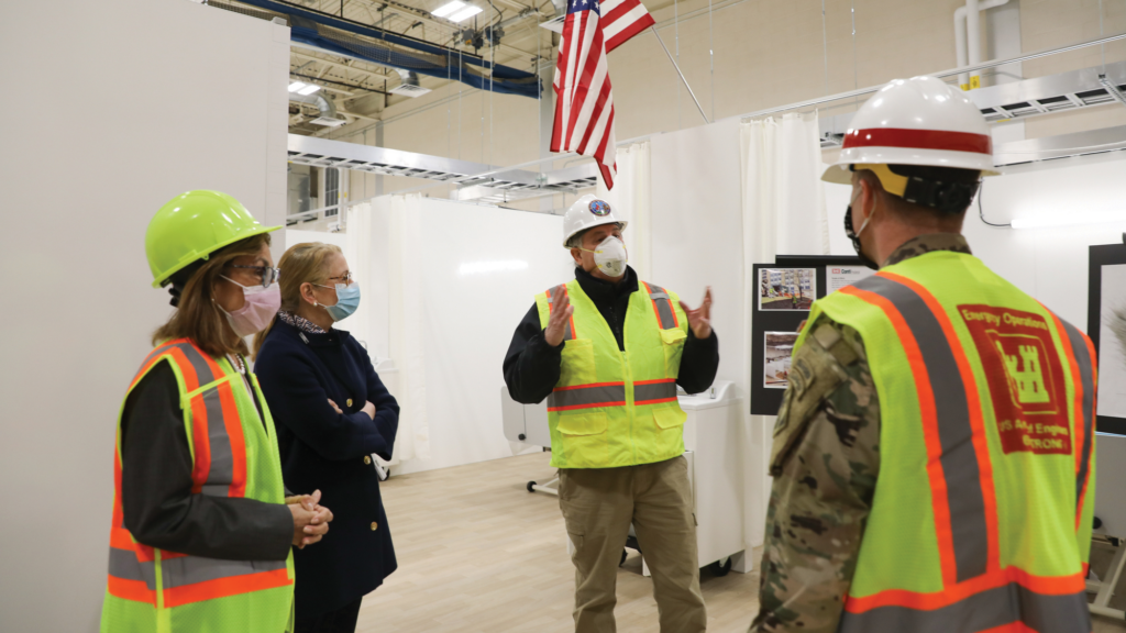 Persichilli visits New Bridge Medical Center in Paramus, where the U.S. Army Corps of Engineers transformed a gymnasium into a 30-bed COVID unit and constructed a 100-bed care tent.