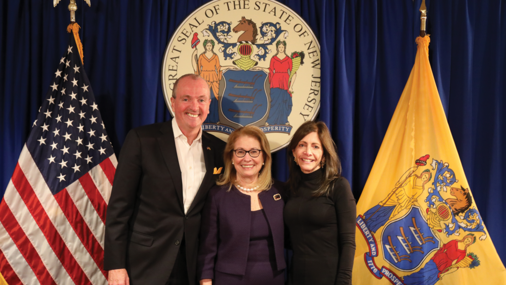 Gov. Phil Murphy and First Lady Tammi Murphy congratulate Persichilli at her January 2020 swearing in ceremony.