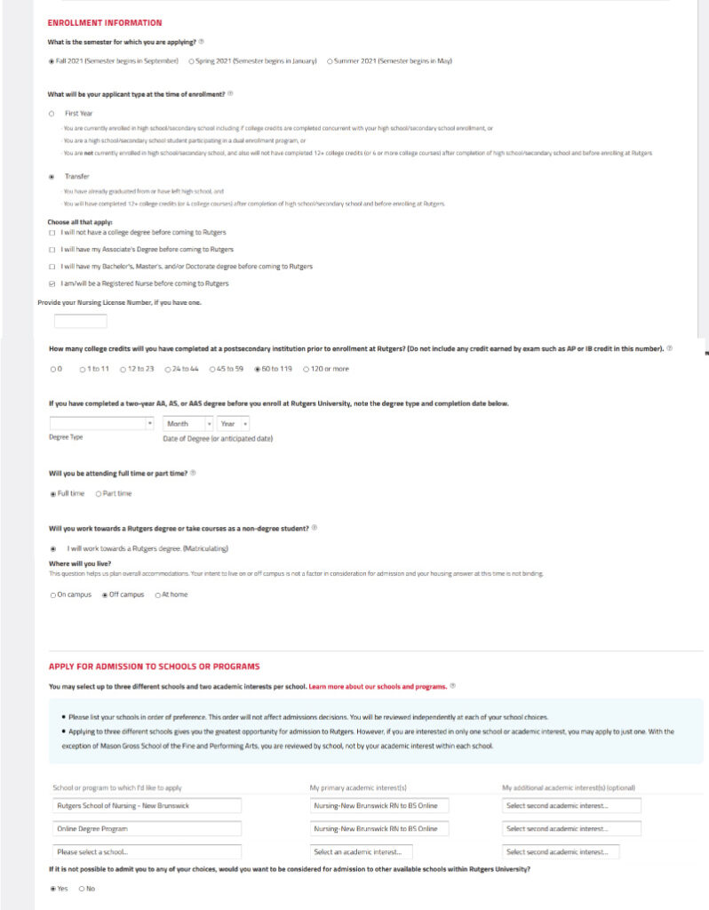 Screenshot of Application for admission to the RN-to BS program