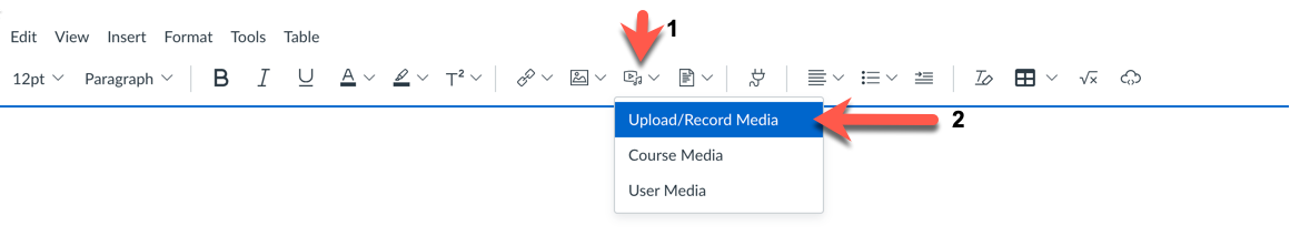 Screenshot of Canvas Rich content Editor menu, with arrow pointing to the 'upload/record media' selection