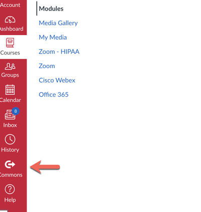 Screenshot of Canvas menu with arrow pointing to 'commons' icon